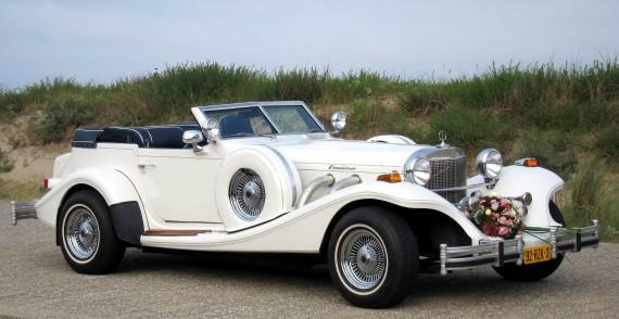 Excalibur Phaeton Cabriolet (wit/blauw) trouwauto