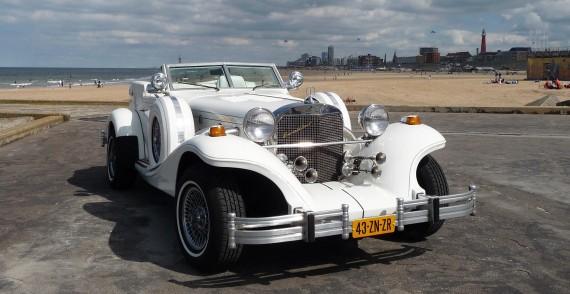 Excalibur Phaeton Cabriolet (wit/wit) trouwauto voorkant