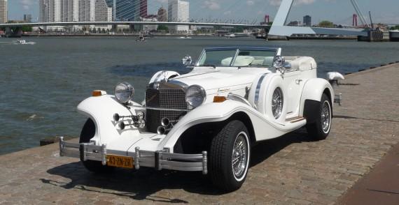 Excalibur Phaeton Cabriolet (wit/wit) trouwauto huren